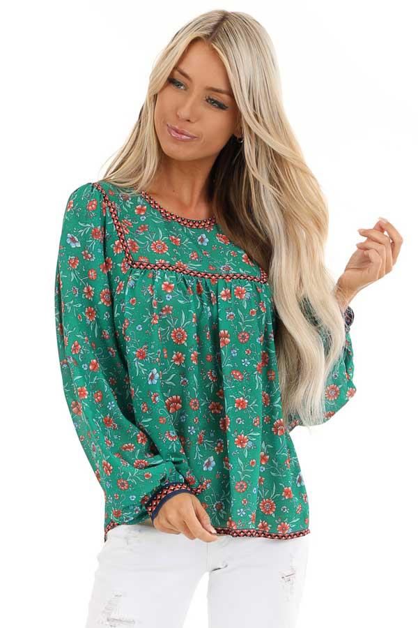 Grass Green and Sunset Orange Floral Print Long Sleeve Top front close up