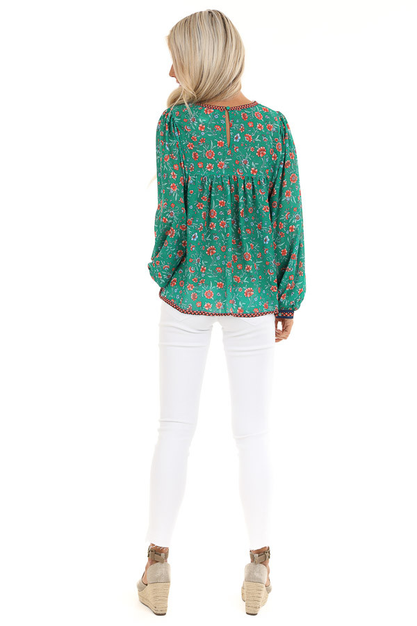 Grass Green and Sunset Orange Floral Print Long Sleeve Top back full body