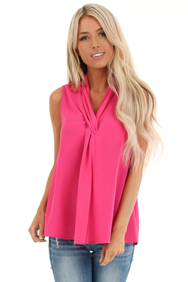 Bubblegum Pink Sleeveless Blouse Top with Front Twist front close up