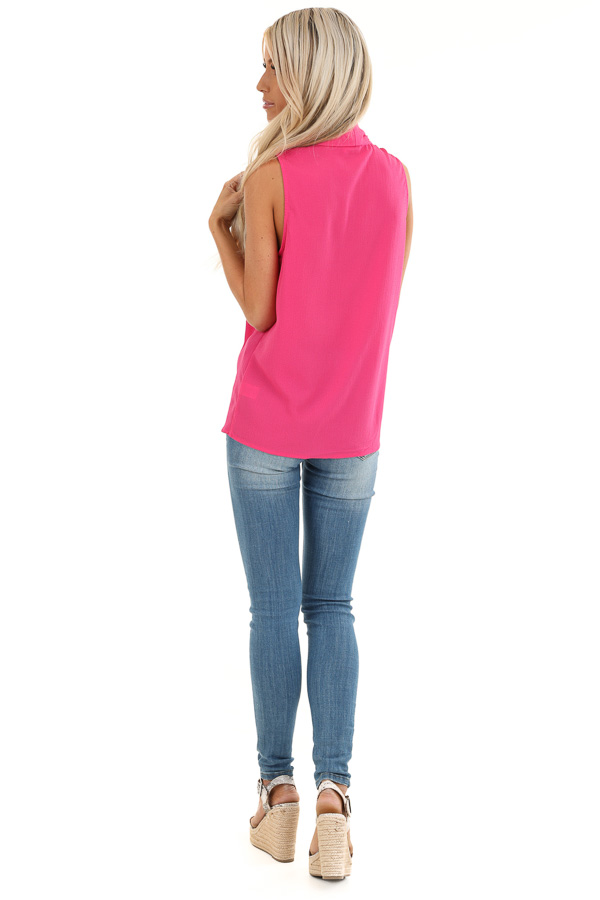 Bubblegum Pink Sleeveless Blouse Top with Front Twist back full body