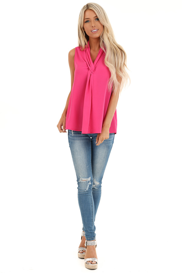 Bubblegum Pink Sleeveless Blouse Top with Front Twist front full body