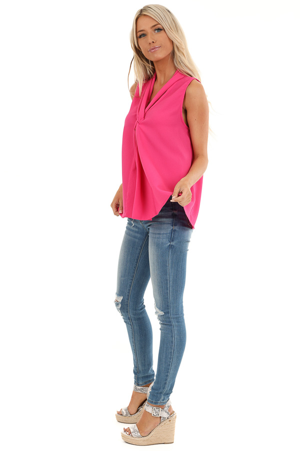 Bubblegum Pink Sleeveless Blouse Top with Front Twist side full body