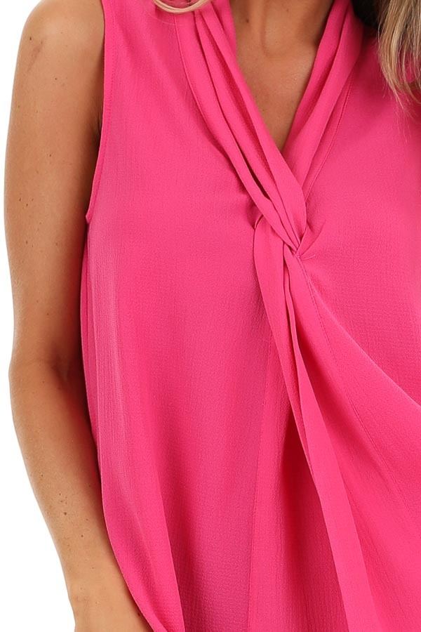 Bubblegum Pink Sleeveless Blouse Top with Front Twist detail