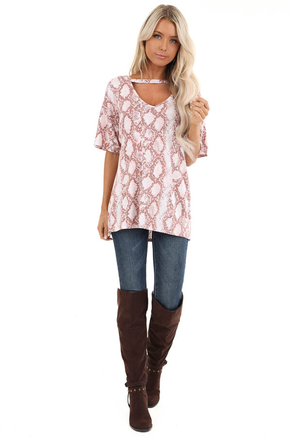 Rose and Mauve Snakeskin Print Tee with Cutout Detail front full body