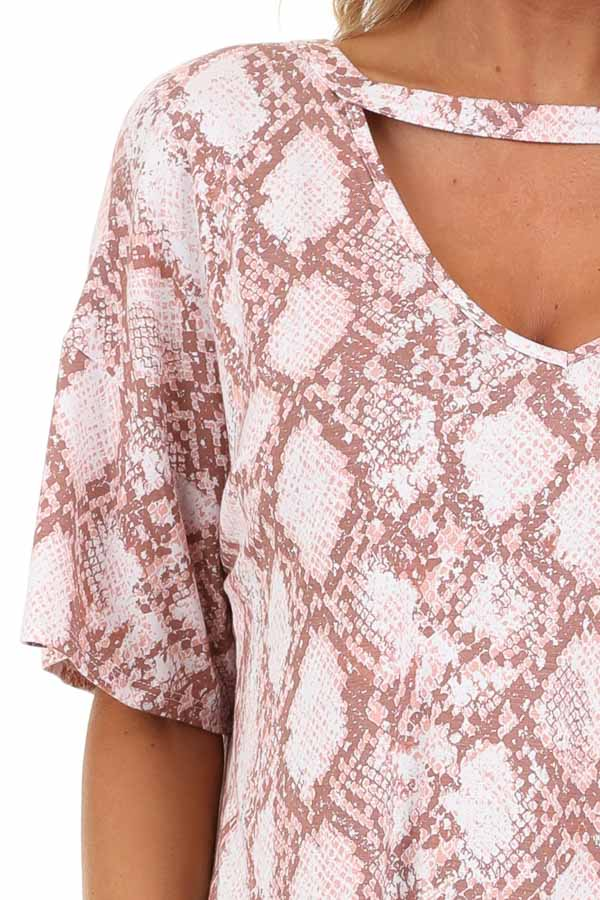 Rose and Mauve Snakeskin Print Tee with Cutout Detail detail