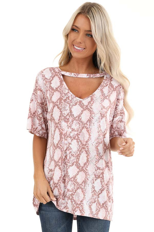 Rose and Mauve Snakeskin Print Tee with Cutout Detail front close up