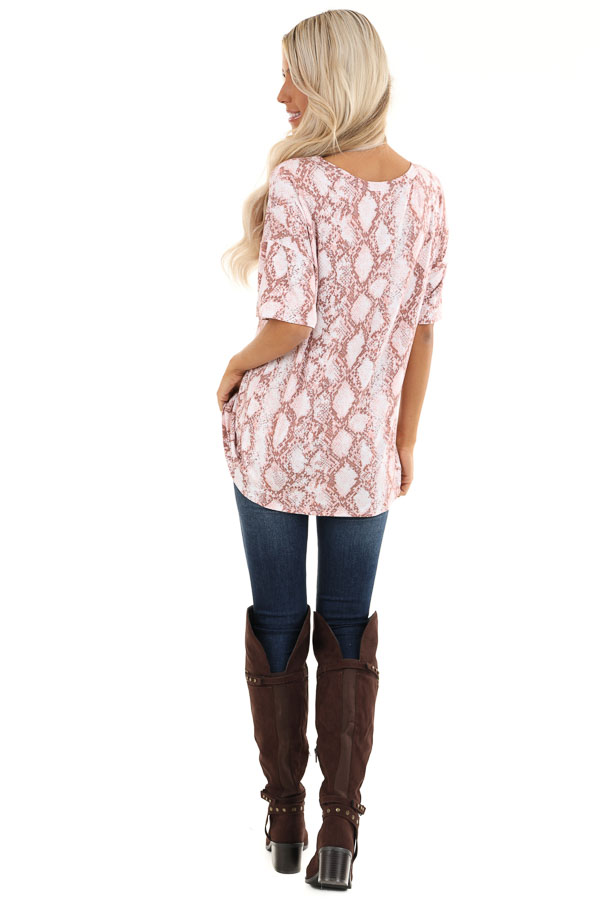Rose and Mauve Snakeskin Print Tee with Cutout Detail back full body
