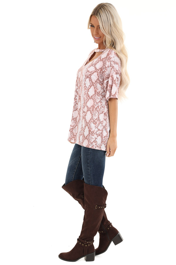 Rose and Mauve Snakeskin Print Tee with Cutout Detail side full body