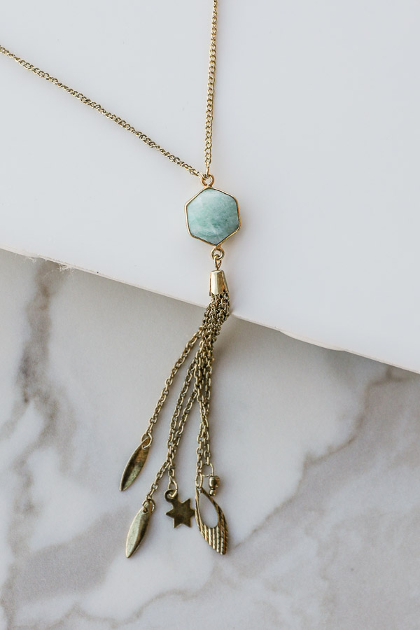Antique Gold Necklace with Aqua Stone Pendant and Tassels