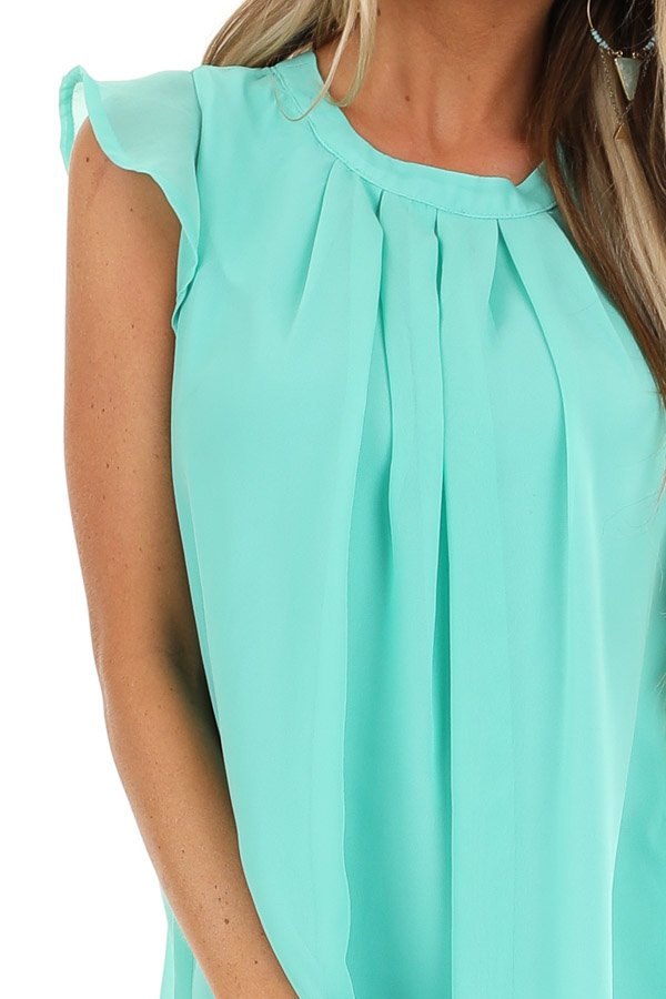 Seafoam Ruffled Cap Sleeve Blouse with Pleated Detail detail