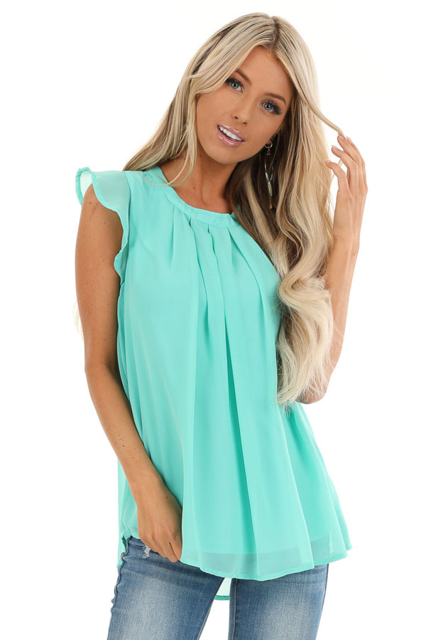 Seafoam Ruffled Cap Sleeve Blouse with Pleated Detail front close up