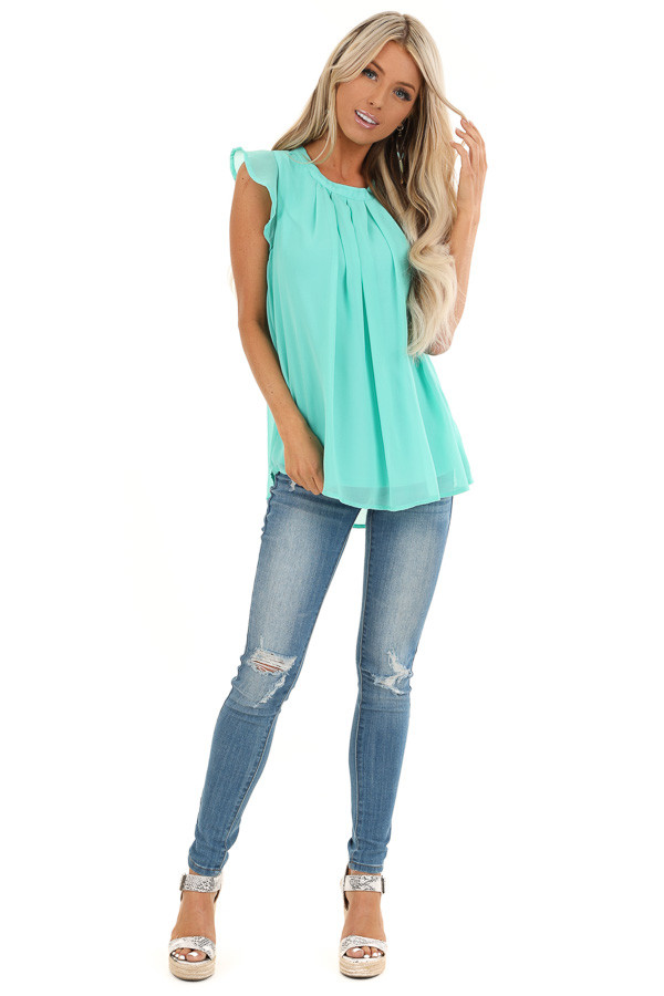 Seafoam Ruffled Cap Sleeve Blouse with Pleated Detail front full body