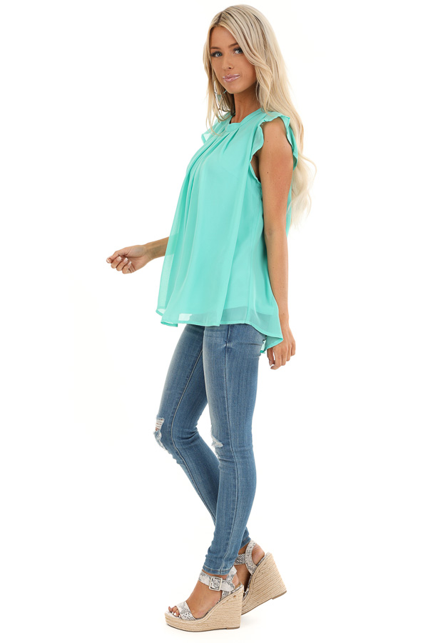 Seafoam Ruffled Cap Sleeve Blouse with Pleated Detail side full body