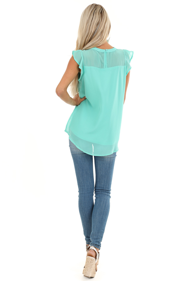 Seafoam Ruffled Cap Sleeve Blouse with Pleated Detail back full body