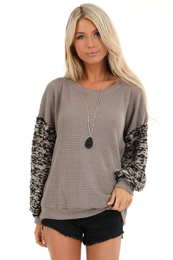 Latte Waffle Knit Top with Leopard Print Sleeve Details front close up