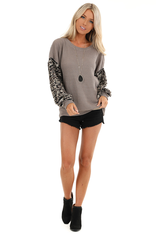 Latte Waffle Knit Top with Leopard Print Sleeve Details front full body