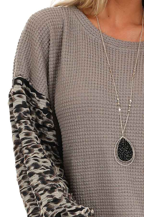 Latte Waffle Knit Top with Leopard Print Sleeve Details detail