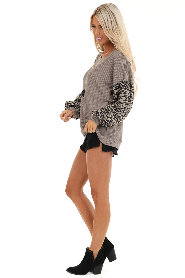Latte Waffle Knit Top with Leopard Print Sleeve Details side full body