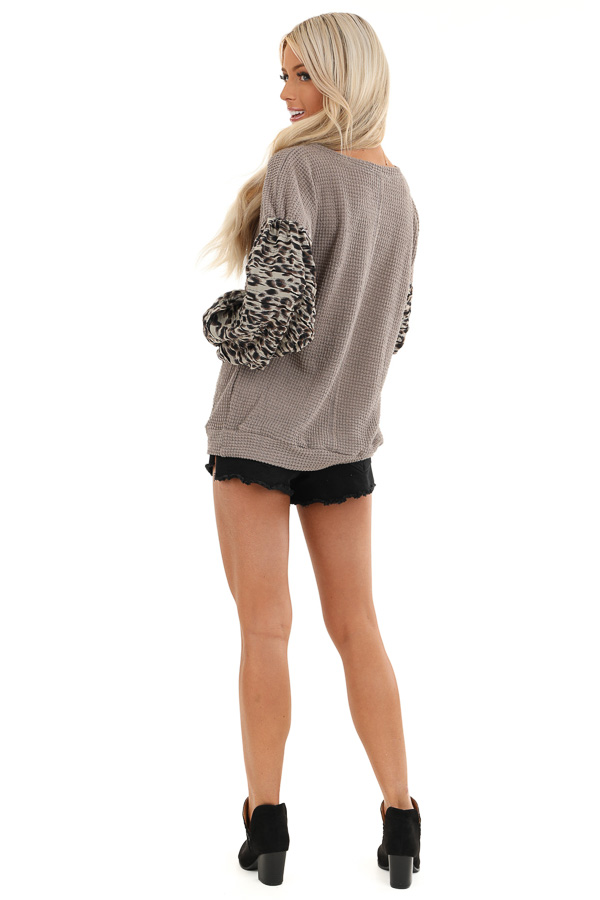 Latte Waffle Knit Top with Leopard Print Sleeve Details back full body