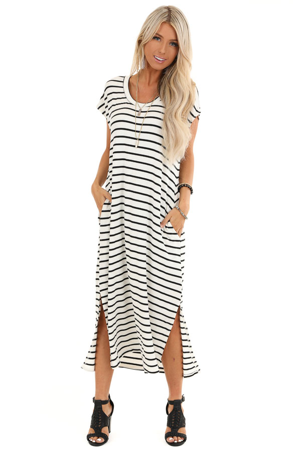Obsidian and Ivory Striped Maxi Dress with Side Slits front full body