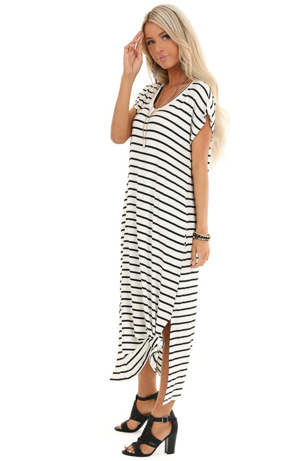 Obsidian and Ivory Striped Maxi Dress with Side Slits side full body