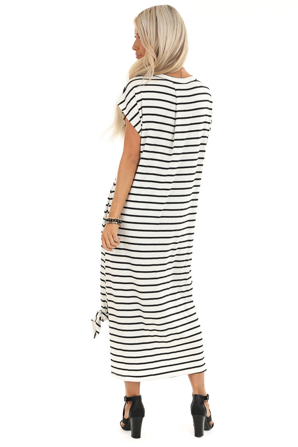Obsidian and Ivory Striped Maxi Dress with Side Slits back full body