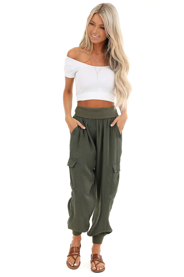 Olive Green Cargo Joggers with Elastic Waistband and Pockets front full body