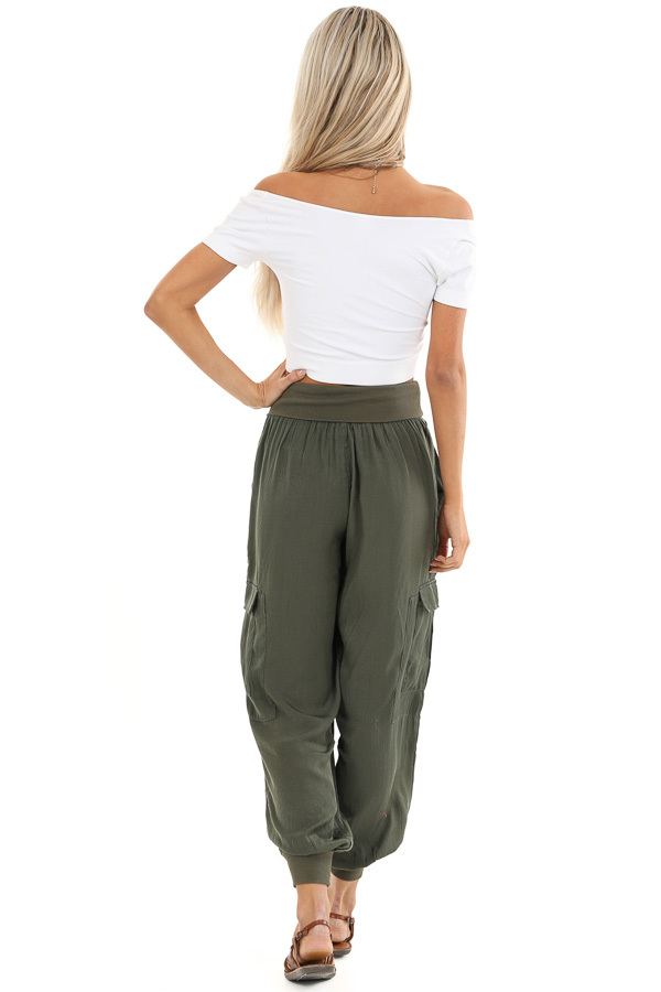 Olive Green Cargo Joggers with Elastic Waistband and Pockets back full body
