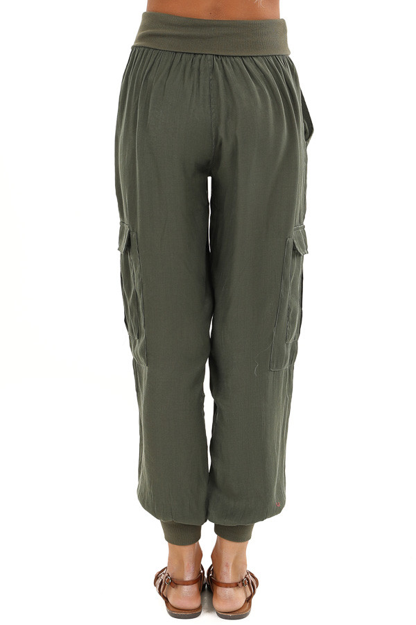 Olive Green Cargo Joggers with Elastic Waistband and Pockets back view