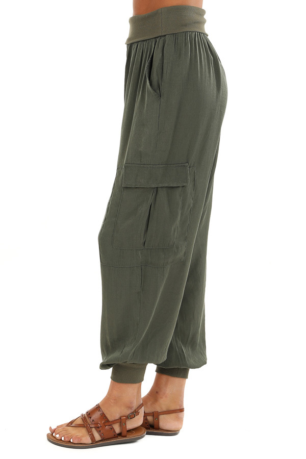 Olive Green Cargo Joggers with Elastic Waistband and Pockets side view