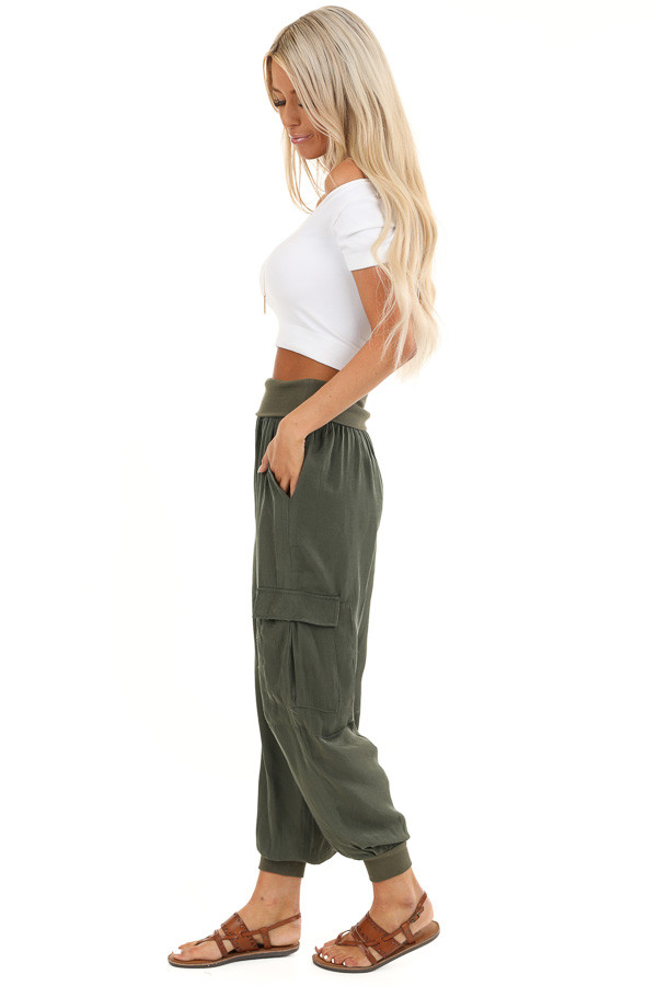 Olive Green Cargo Joggers with Elastic Waistband and Pockets side full body