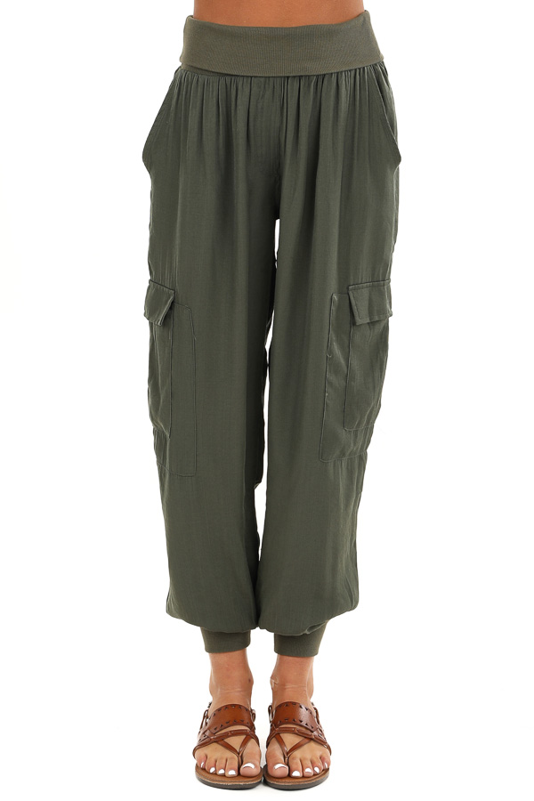 Olive Green Cargo Joggers with Elastic Waistband and Pockets front view
