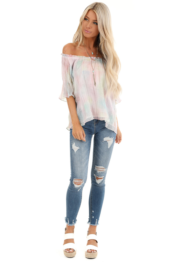 Rainbow Watercolor Off the Shoulder Short Sleeve Blouse front full body