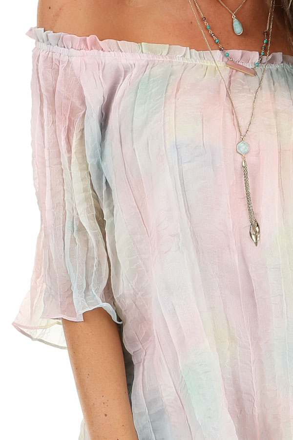 Rainbow Watercolor Off the Shoulder Short Sleeve Blouse detail