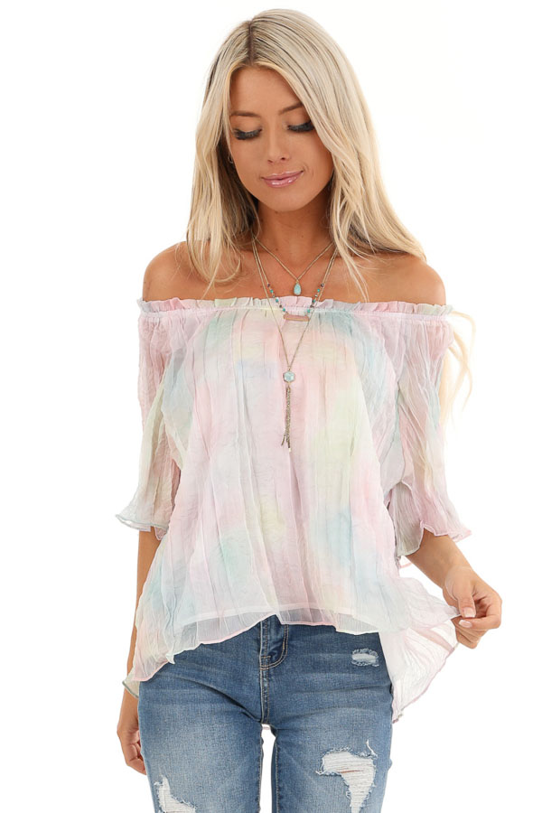 Rainbow Watercolor Off the Shoulder Short Sleeve Blouse front close up