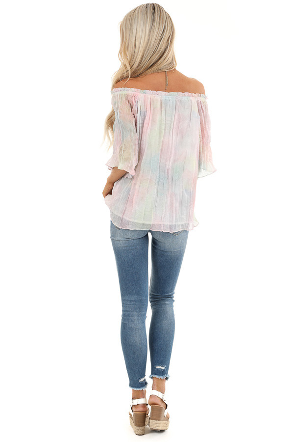 Rainbow Watercolor Off the Shoulder Short Sleeve Blouse back full body
