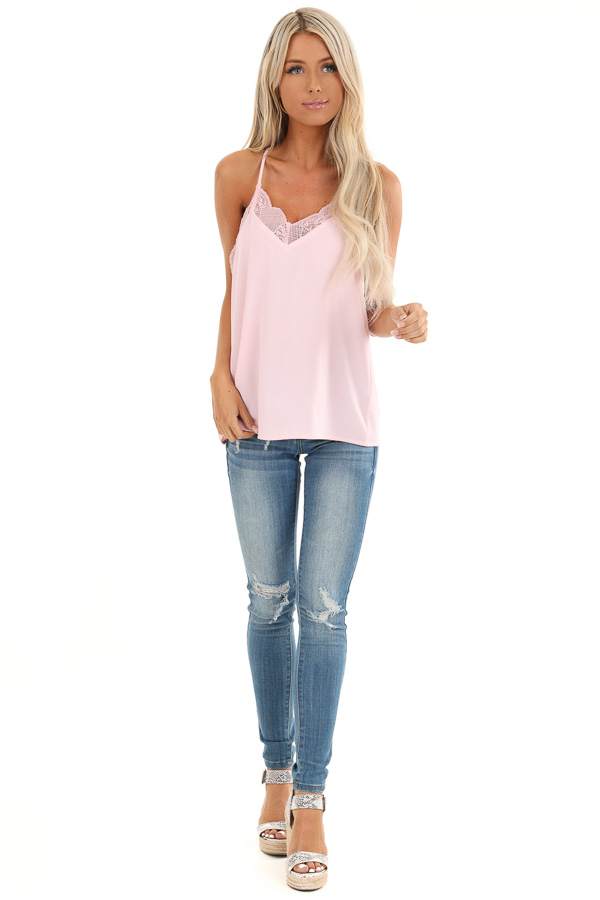 Baby Pink Camisole Tank Top with Lace Trim front full body