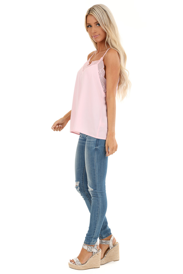 Baby Pink Camisole Tank Top with Lace Trim side full body