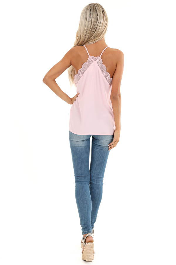 Baby Pink Camisole Tank Top with Lace Trim back full body