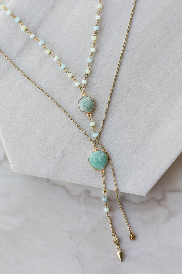 Antique Gold Layered Necklace with Aqua and Mint Details