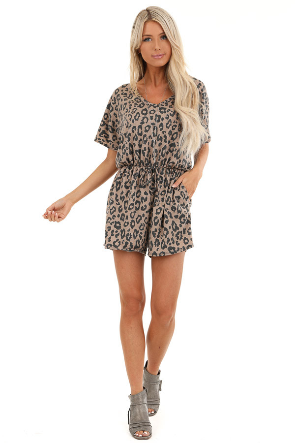 Mocha and Charcoal Leopard Print Romper with Pockets front full body