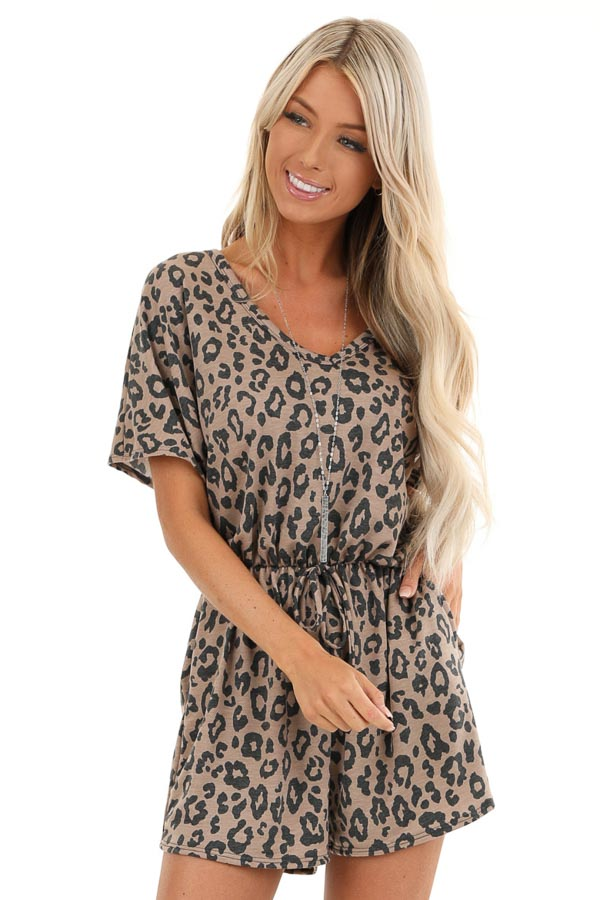 Mocha and Charcoal Leopard Print Romper with Pockets front close up