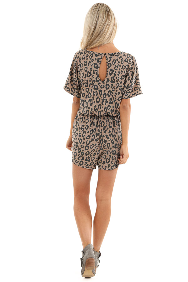 Mocha and Charcoal Leopard Print Romper with Pockets back full body