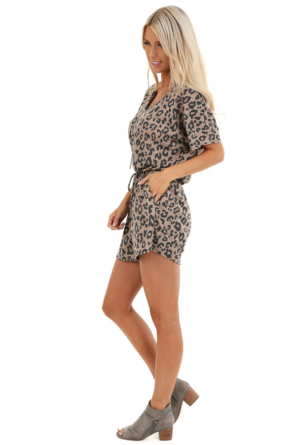 Mocha and Charcoal Leopard Print Romper with Pockets side full body
