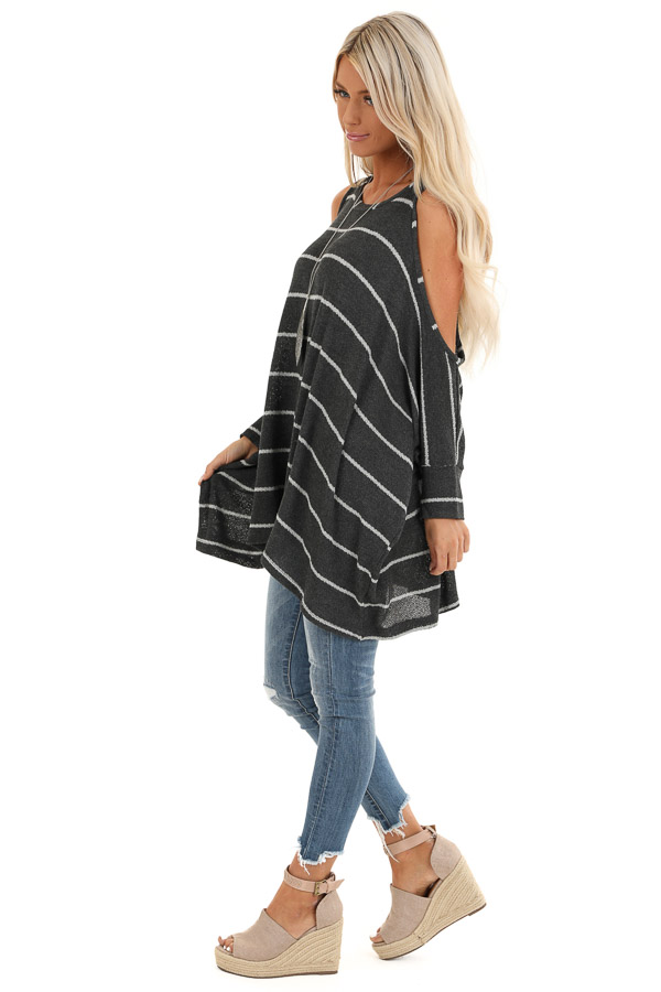 Stone Striped Cold Shoulder Knit Top with 3/4 Length Sleeves side full body