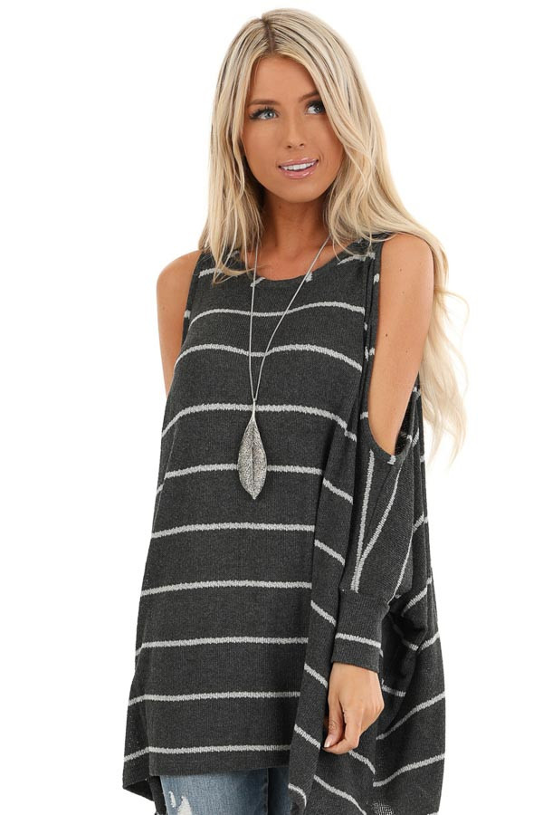 Stone Striped Cold Shoulder Knit Top with 3/4 Length Sleeves front close up