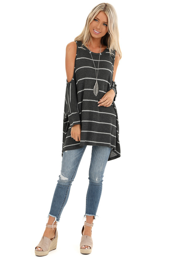 Stone Striped Cold Shoulder Knit Top with 3/4 Length Sleeves front full body