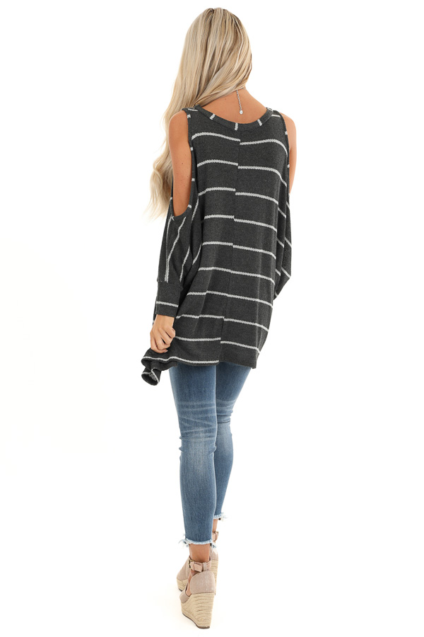 Stone Striped Cold Shoulder Knit Top with 3/4 Length Sleeves back full body