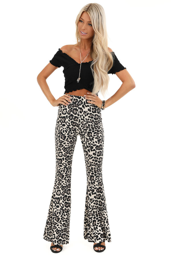Cream Leopard Print Super Soft Stretchy Bell Bottom Pants front full body