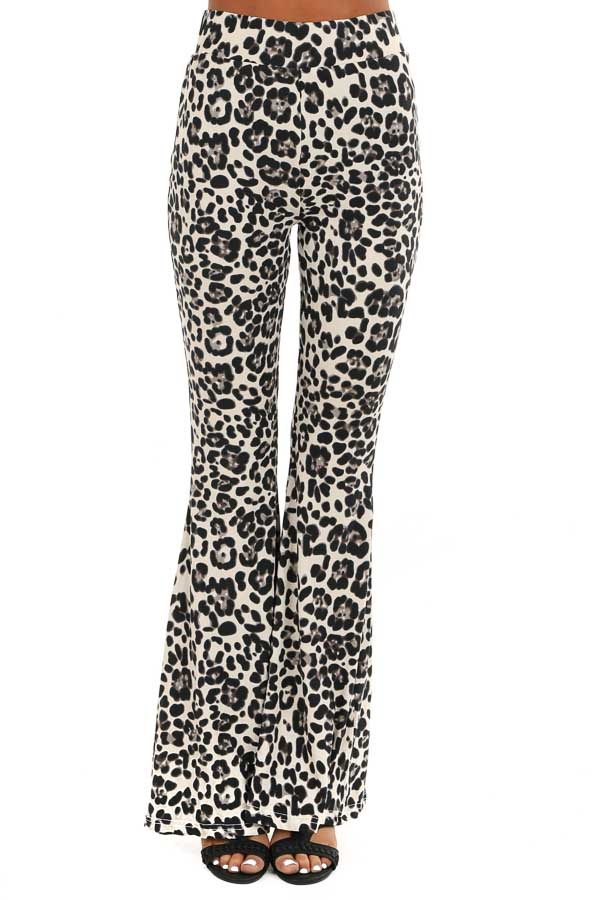 Cream Leopard Print Super Soft Stretchy Bell Bottom Pants front view